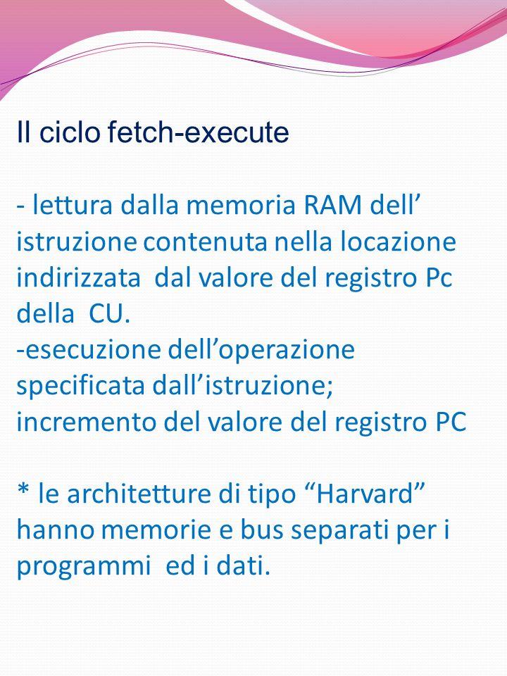Il ciclo fetch-execute - lettura dalla memoria RAM dell istruzione contenuta nella locazione indirizzata dal valore del registro Pc della CU. -esecuzi