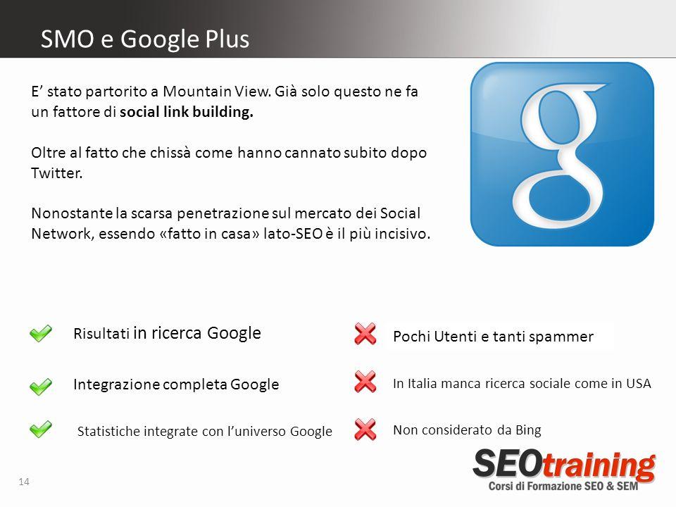 14 SMO e Google Plus Risultati in ricerca Google Integrazione completa Google E stato partorito a Mountain View.