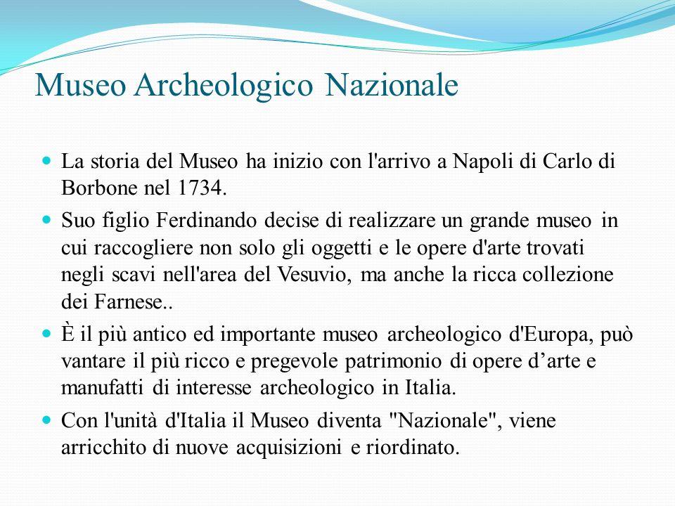 Museo Archeologico Nazionale La storia del Museo ha inizio con l arrivo a Napoli di Carlo di Borbone nel 1734.