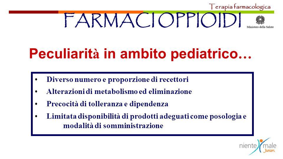 Peculiarit à in ambito pediatrico … Diverso numero e proporzione di recettori Alterazioni di metabolismo ed eliminazione Precocità di tolleranza e dip