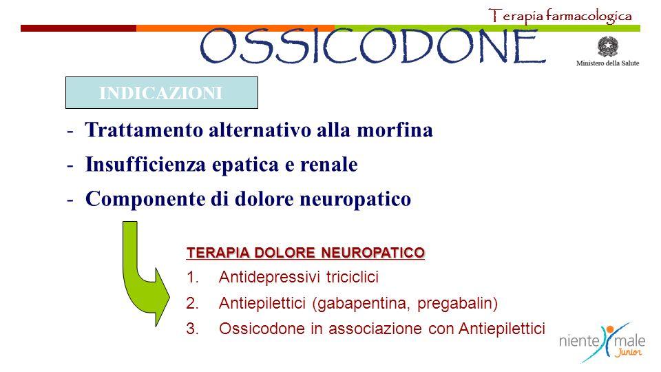 OSSICODONE - Trattamento alternativo alla morfina - Insufficienza epatica e renale - Componente di dolore neuropatico INDICAZIONI TERAPIA DOLORE NEURO
