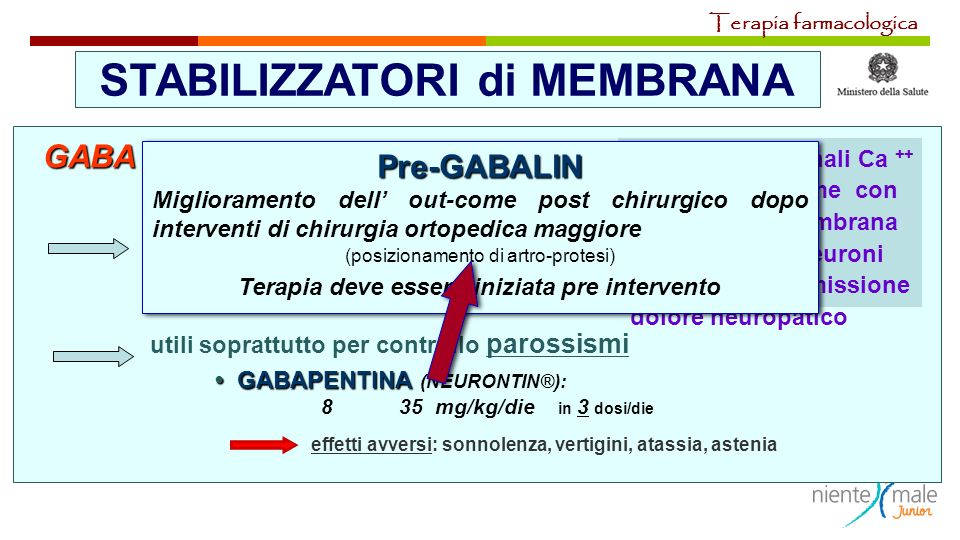 STABILIZZATORI di MEMBRANA GABA AGONISTI utili soprattutto per controllo parossismi GABAPENTINA GABAPENTINA (NEURONTIN®): 8 35 mg/kg/die in 3 dosi/die