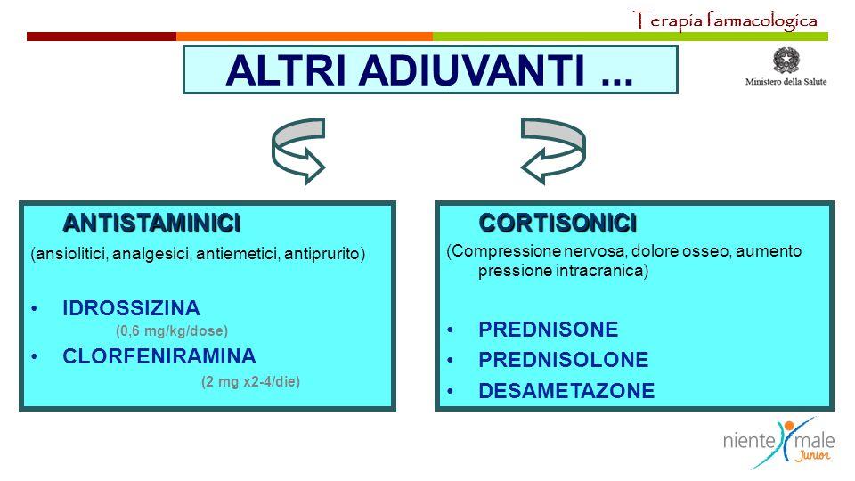 ALTRI ADIUVANTI... ANTISTAMINICI (ansiolitici, analgesici, antiemetici, antiprurito) IDROSSIZINA (0,6 mg/kg/dose) CLORFENIRAMINA (2 mg x2-4/die)CORTIS