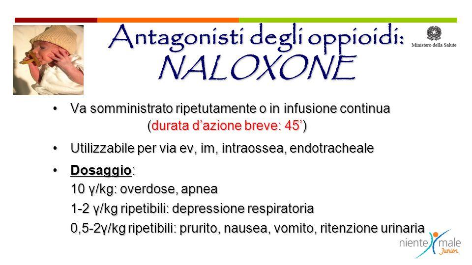 Antagonisti degli oppioidi: NALOXONE Va somministrato ripetutamente o in infusione continuaVa somministrato ripetutamente o in infusione continua (dur