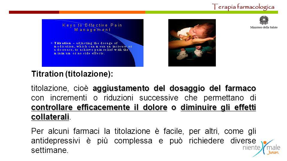 Titration (titolazione): aggiustamento del dosaggio del farmaco controllare efficacemente il dolore o diminuire gli effetti collaterali titolazione, c