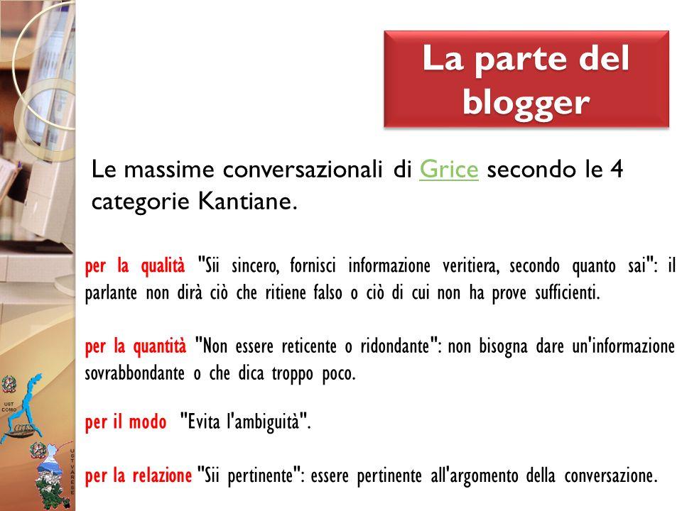La parte del blogger Le massime conversazionali di Grice secondo le 4Grice categorie Kantiane. per la quantità