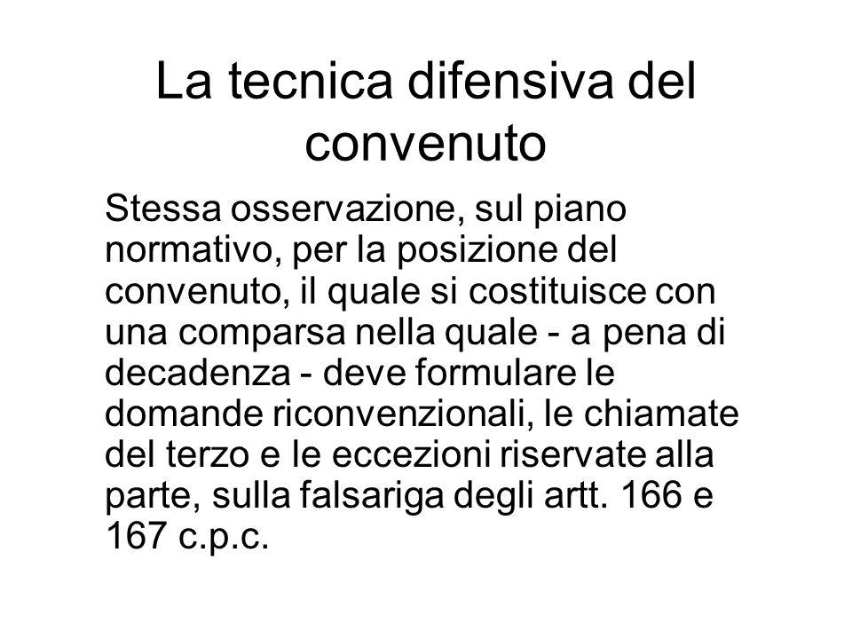 La tecnica difensiva del convenuto Stessa osservazione, sul piano normativo, per la posizione del convenuto, il quale si costituisce con una comparsa