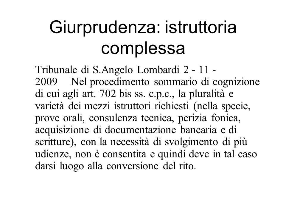 Giurprudenza: istruttoria complessa Tribunale di S.Angelo Lombardi 2 - 11 - 2009 Nel procedimento sommario di cognizione di cui agli art. 702 bis ss.