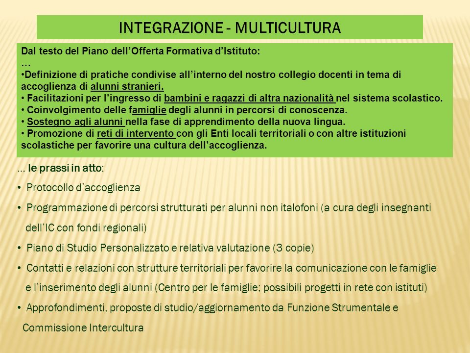 INTEGRAZIONE - MULTICULTURA … le prassi in atto: Protocollo daccoglienza Programmazione di percorsi strutturati per alunni non italofoni (a cura degli