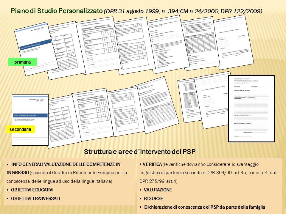 Piano di Studio Personalizzato (DPR 31 agosto 1999, n.