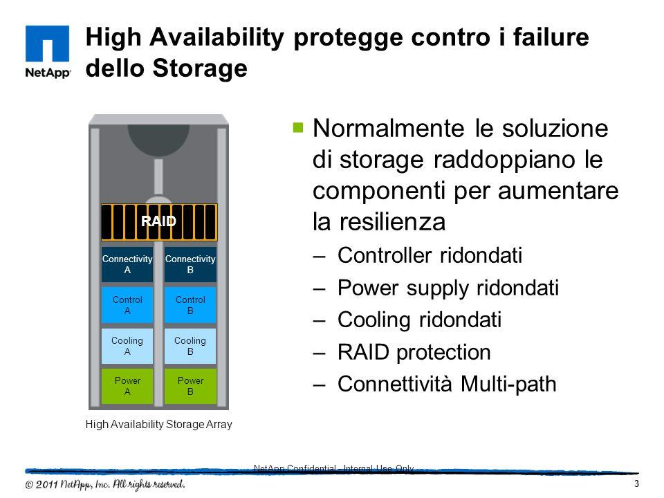 High Availability protegge contro i failure dello Storage Normalmente le soluzione di storage raddoppiano le componenti per aumentare la resilienza –C