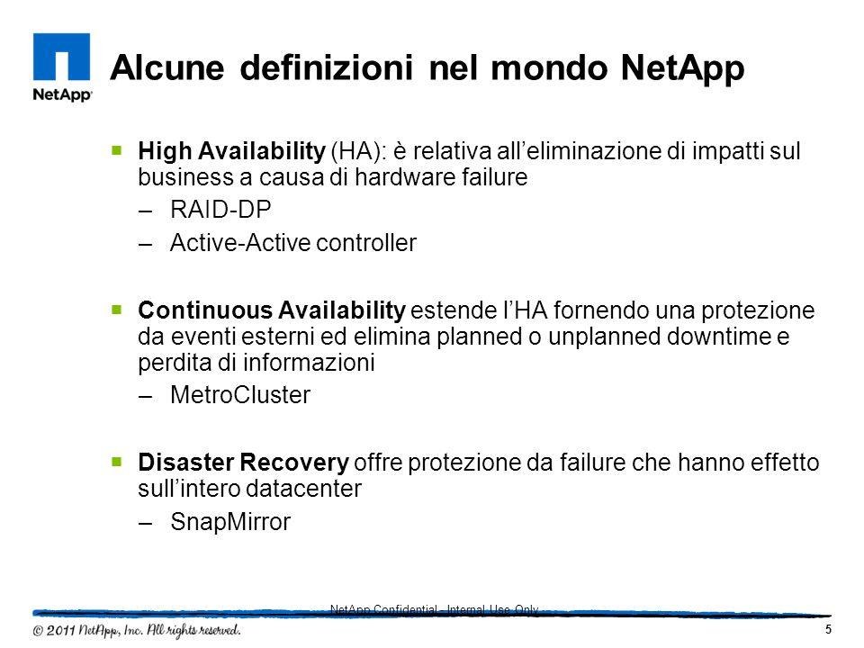 Alcune definizioni nel mondo NetApp High Availability (HA): è relativa alleliminazione di impatti sul business a causa di hardware failure –RAID-DP –A