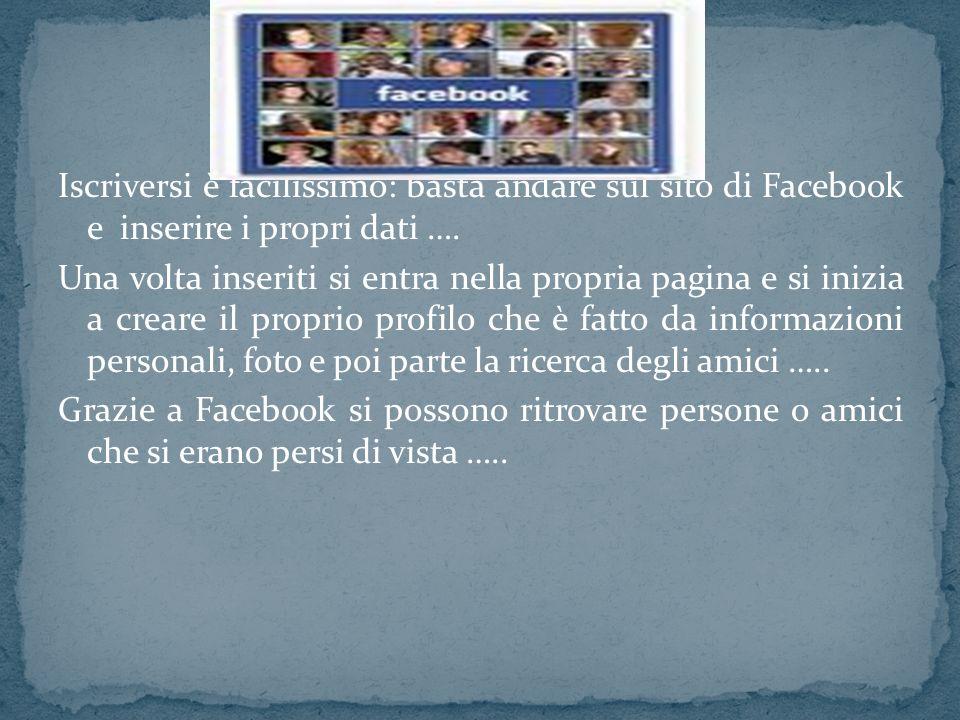 Iscriversi è facilissimo: basta andare sul sito di Facebook e inserire i propri dati ….