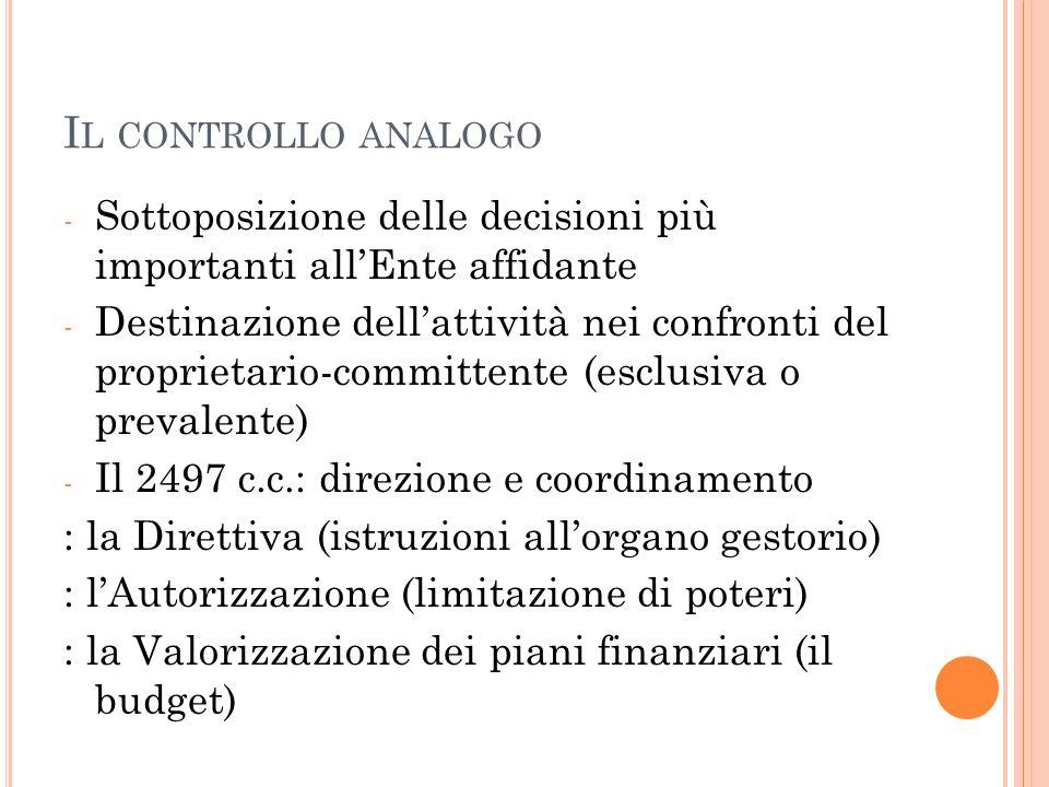 I L CONTROLLO ANALOGO - Sottoposizione delle decisioni più importanti allEnte affidante - Destinazione dellattività nei confronti del proprietario-committente (esclusiva o prevalente) - Il 2497 c.c.: direzione e coordinamento : la Direttiva (istruzioni allorgano gestorio) : lAutorizzazione (limitazione di poteri) : la Valorizzazione dei piani finanziari (il budget)