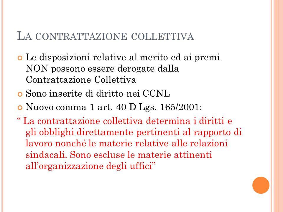 L A CONTRATTAZIONE COLLETTIVA Le disposizioni relative al merito ed ai premi NON possono essere derogate dalla Contrattazione Collettiva Sono inserite di diritto nei CCNL Nuovo comma 1 art.