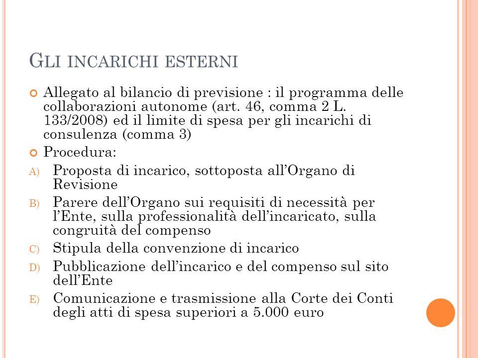 G LI INCARICHI ESTERNI Allegato al bilancio di previsione : il programma delle collaborazioni autonome (art.