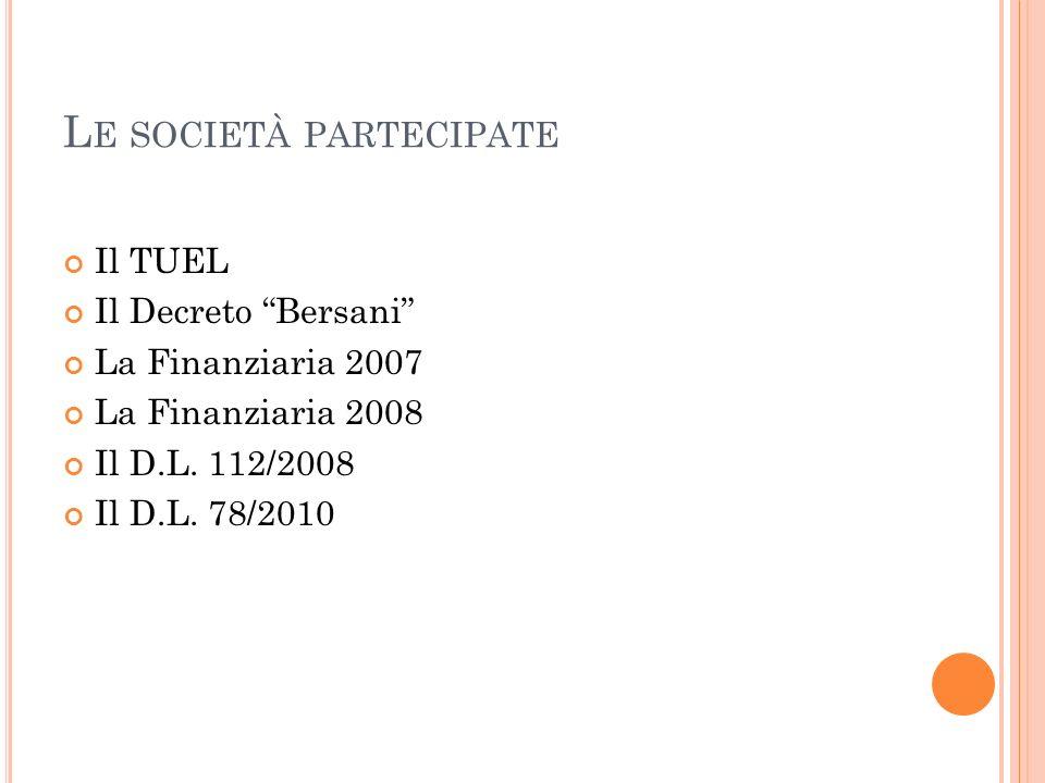 L E SOCIETÀ PARTECIPATE Il TUEL Il Decreto Bersani La Finanziaria 2007 La Finanziaria 2008 Il D.L.