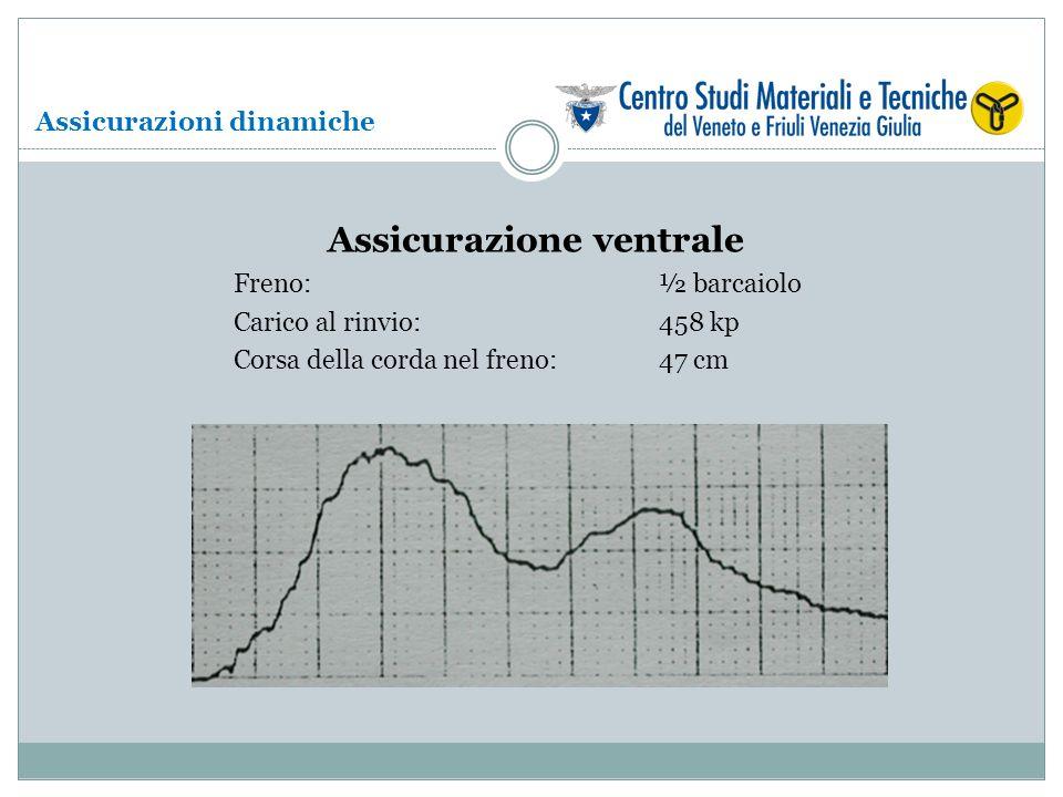 Assicurazione ventrale Freno: ½ barcaiolo Carico al rinvio: 458 kp Corsa della corda nel freno:47 cm Assicurazioni dinamiche