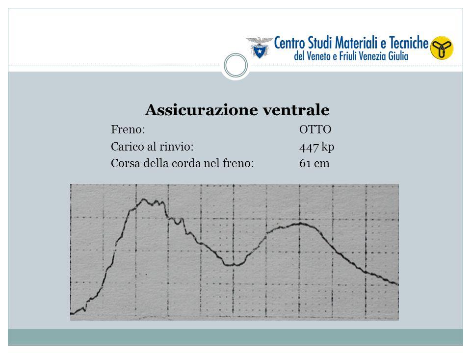 Assicurazione ventrale Freno: OTTO Carico al rinvio: 447 kp Corsa della corda nel freno:61 cm
