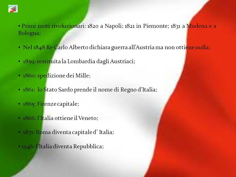 Primi moti rivoluzionari: 1820 a Napoli; 1821 in Piemonte; 1831 a Modena e a Bologna; Nel 1848 Re Carlo Alberto dichiara guerra allAustria ma non otti