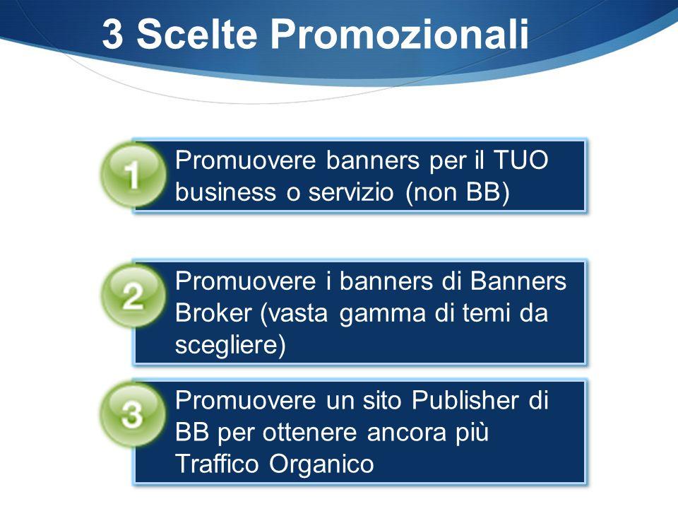 3 Scelte Promozionali Promuovere banners per il TUO business o servizio (non BB) Promuovere un sito Publisher di BB per ottenere ancora più Traffico Organico Promuovere i banners di Banners Broker (vasta gamma di temi da scegliere)