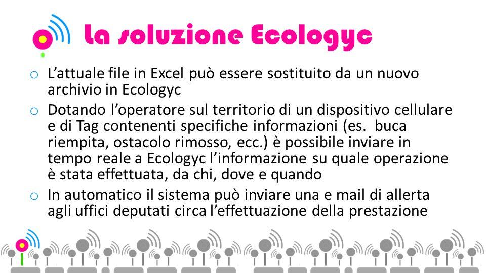 La soluzione Ecologyc o Lattuale file in Excel può essere sostituito da un nuovo archivio in Ecologyc o Dotando loperatore sul territorio di un dispositivo cellulare e di Tag contenenti specifiche informazioni (es.