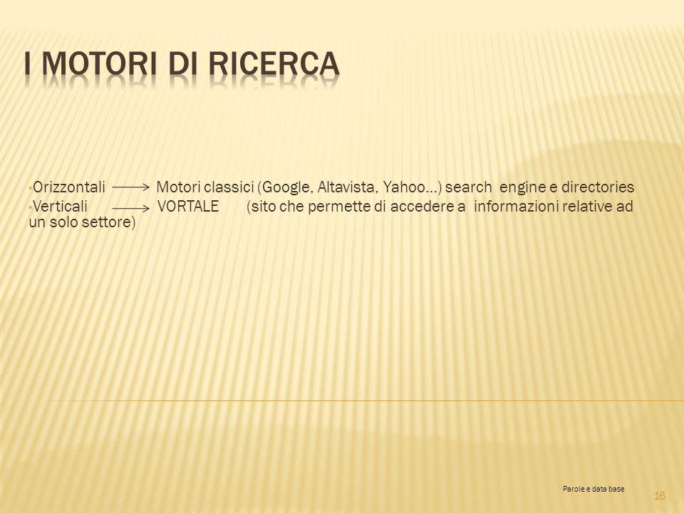 Orizzontali Motori classici (Google, Altavista, Yahoo…) search engine e directories Verticali VORTALE (sito che permette di accedere a informazioni re