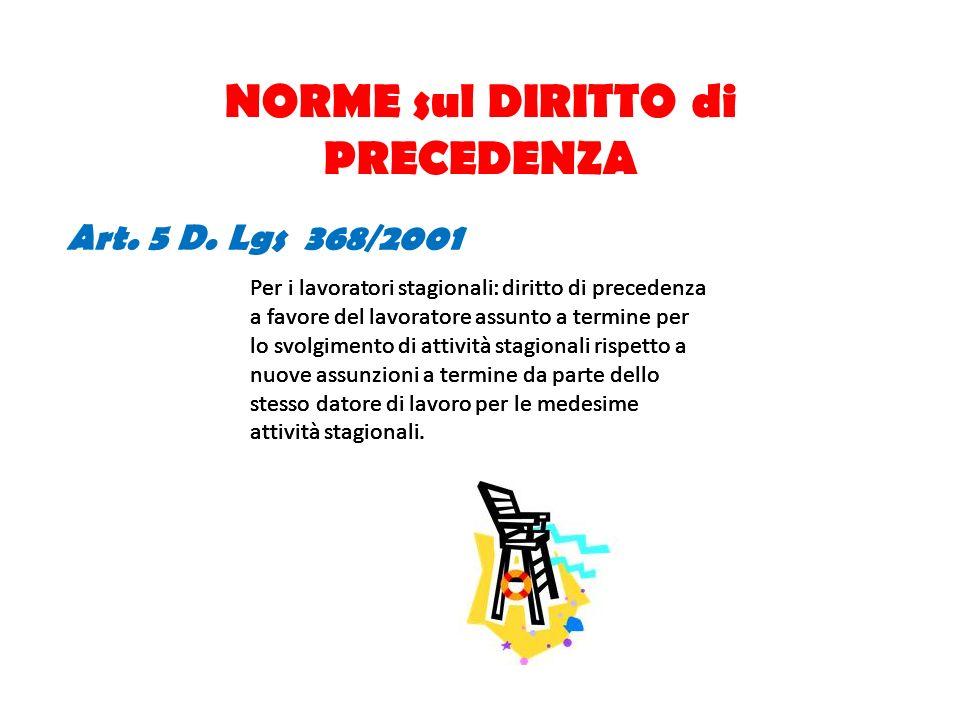 NORME sul DIRITTO di PRECEDENZA Art. 5 D. Lgs 368/2001 Per i lavoratori stagionali: diritto di precedenza a favore del lavoratore assunto a termine pe