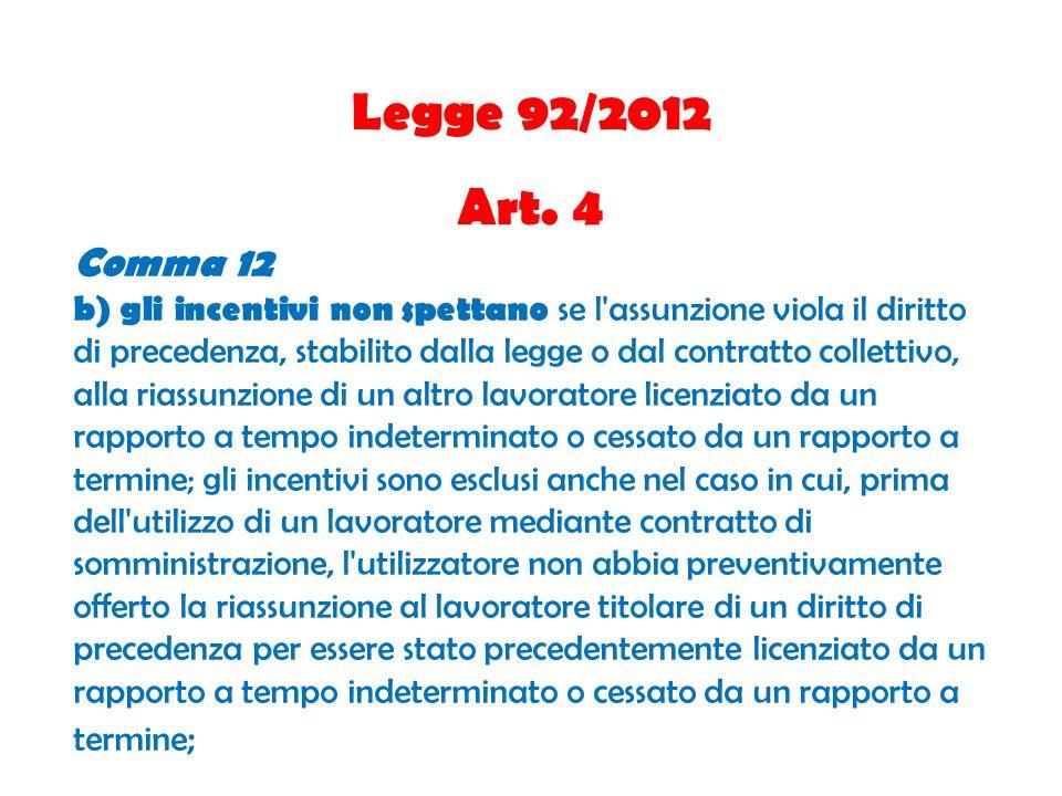 Legge 92/2012 Art. 4 Comma 12 b) gli incentivi non spettano se l'assunzione viola il diritto di precedenza, stabilito dalla legge o dal contratto coll
