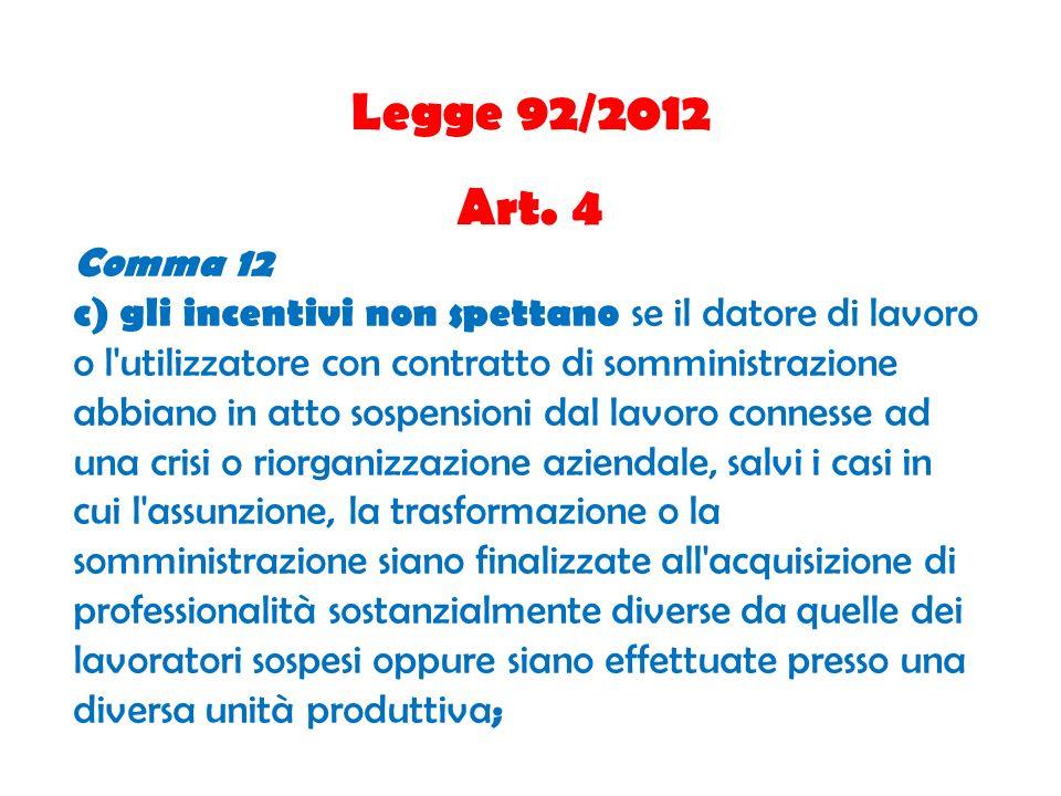 Legge 92/2012 Art. 4 Comma 12 c) gli incentivi non spettano se il datore di lavoro o l'utilizzatore con contratto di somministrazione abbiano in atto