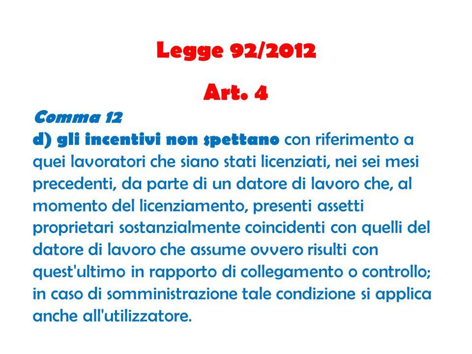 Legge 92/2012 Art. 4 Comma 12 d) gli incentivi non spettano con riferimento a quei lavoratori che siano stati licenziati, nei sei mesi precedenti, da