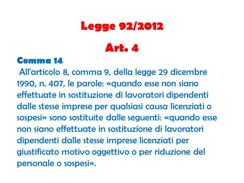 Legge 92/2012 Art. 4 Comma 14 All'articolo 8, comma 9, della legge 29 dicembre 1990, n. 407, le parole: «quando esse non siano effettuate in sostituzi