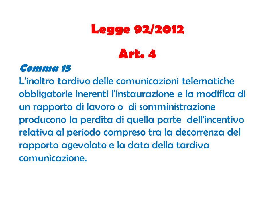 Legge 92/2012 Art. 4 Comma 15 L'inoltro tardivo delle comunicazioni telematiche obbligatorie inerenti l'instaurazione e la modifica di un rapporto di
