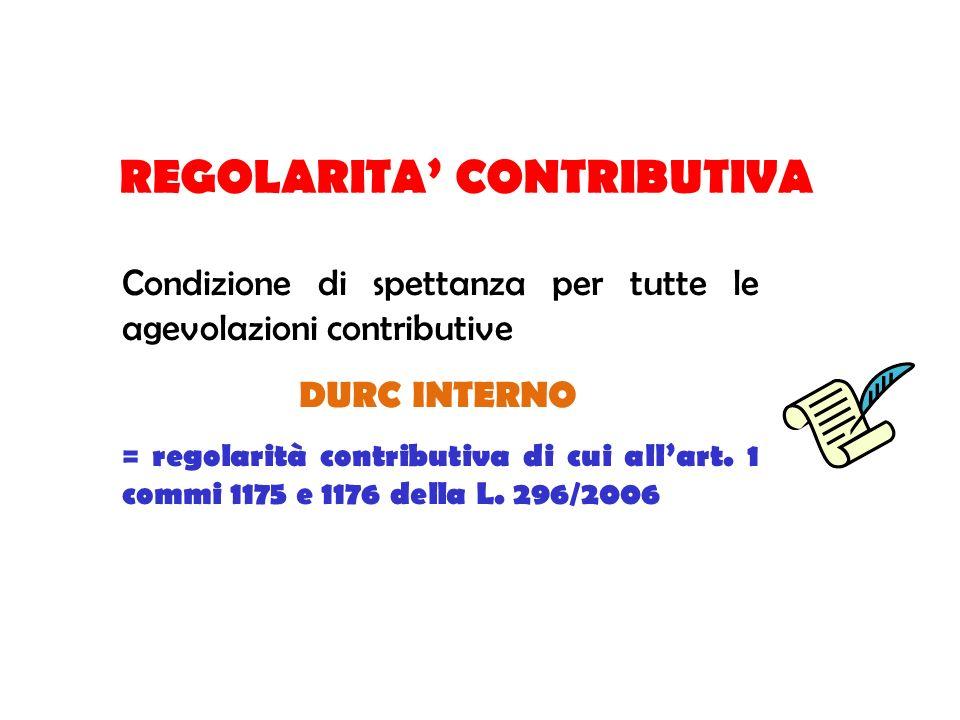 REGOLARITA CONTRIBUTIVA Condizione di spettanza per tutte le agevolazioni contributive DURC INTERNO = regolarità contributiva di cui allart. 1 commi 1