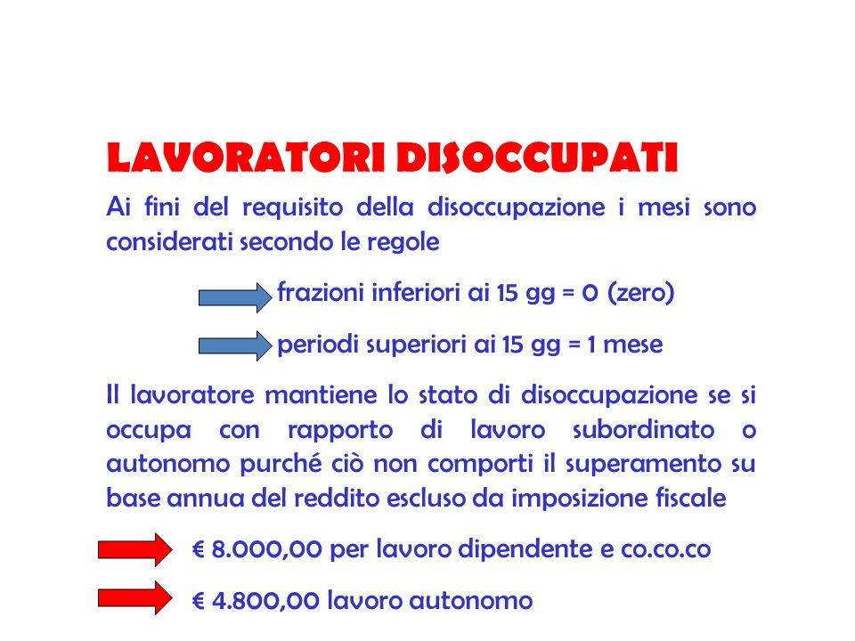 LAVORATORI DISOCCUPATI Ai fini del requisito della disoccupazione i mesi sono considerati secondo le regole frazioni inferiori ai 15 gg = 0 (zero) per
