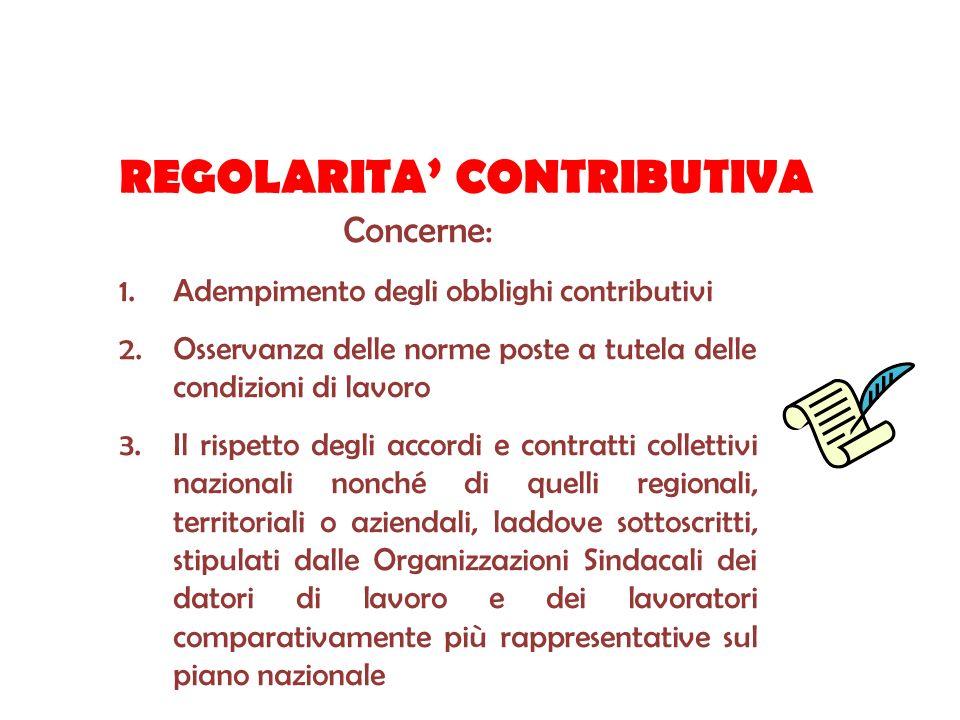 REGOLARITA CONTRIBUTIVA Concerne: 1.Adempimento degli obblighi contributivi 2.Osservanza delle norme poste a tutela delle condizioni di lavoro 3.Il ri