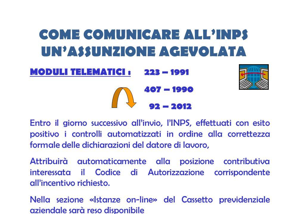 COME COMUNICARE ALLINPS UNASSUNZIONE AGEVOLATA MODULI TELEMATICI :223 – 1991 407 – 1990 92 – 2012 Entro il giorno successivo allinvio, lINPS, effettua