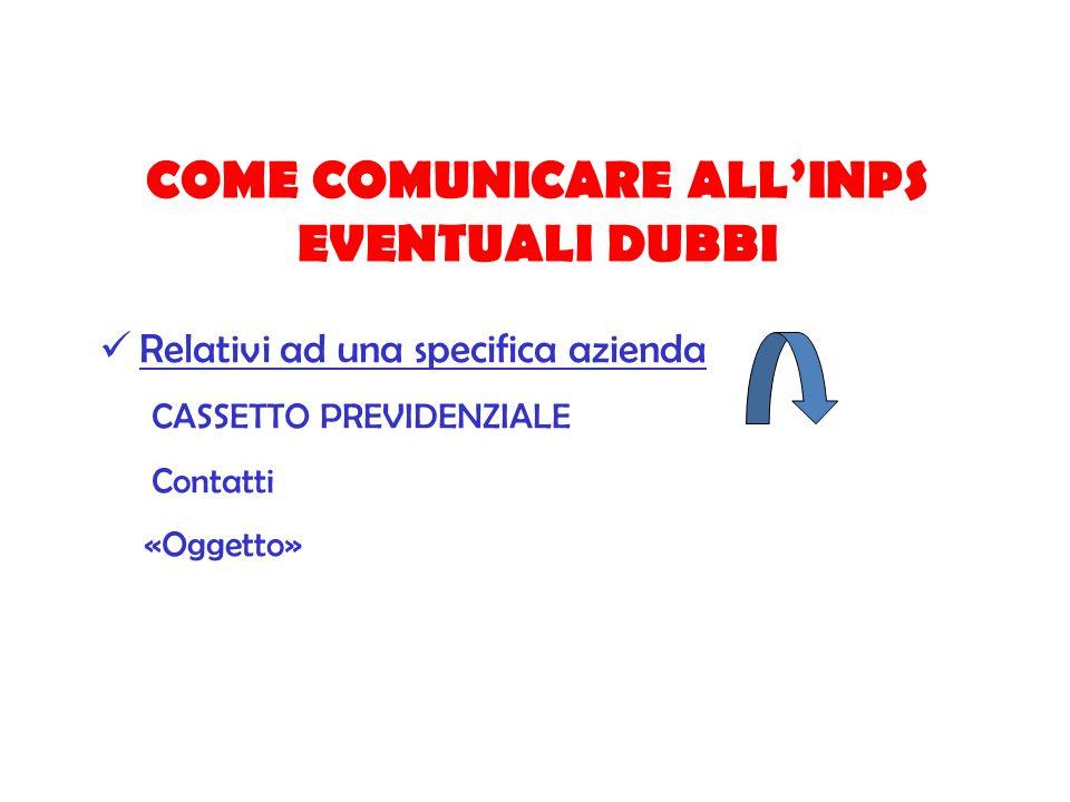 COME COMUNICARE ALLINPS EVENTUALI DUBBI Relativi ad una specifica azienda CASSETTO PREVIDENZIALE Contatti «Oggetto»