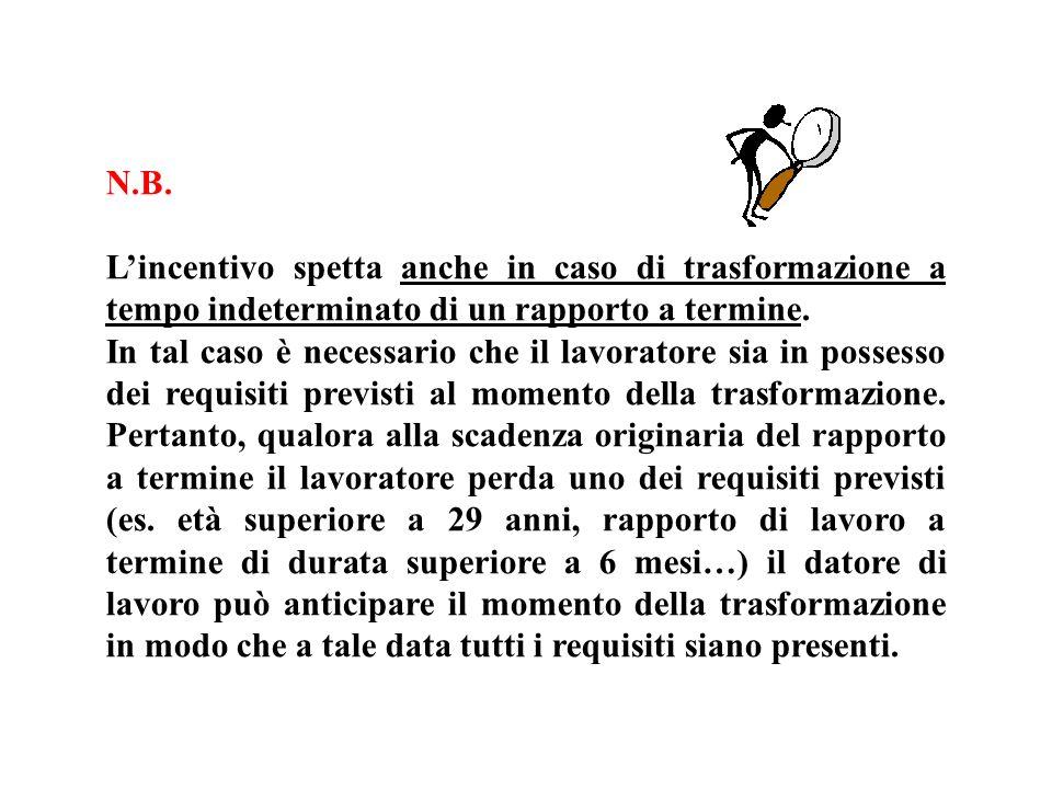 N.B. Lincentivo spetta anche in caso di trasformazione a tempo indeterminato di un rapporto a termine. In tal caso è necessario che il lavoratore sia