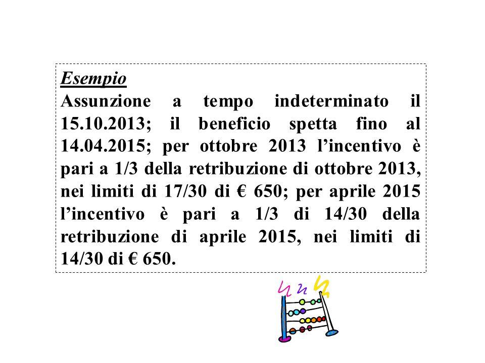 Esempio Assunzione a tempo indeterminato il 15.10.2013; il beneficio spetta fino al 14.04.2015; per ottobre 2013 lincentivo è pari a 1/3 della retribu