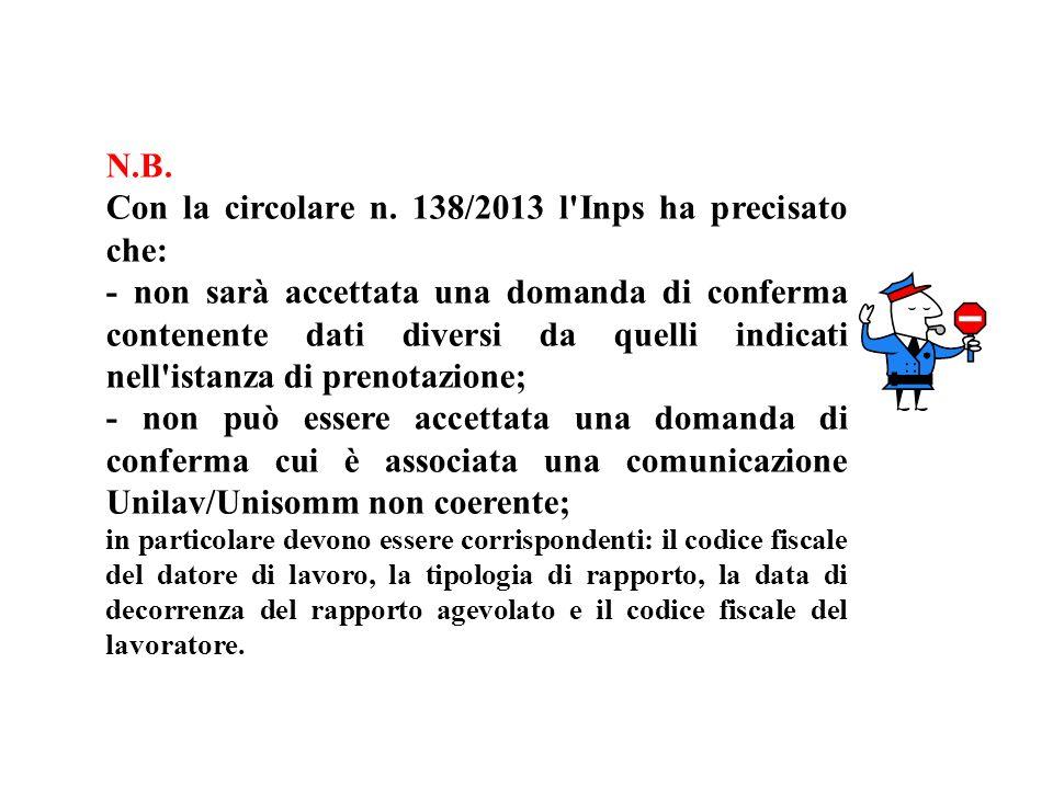 N.B. Con la circolare n. 138/2013 l'Inps ha precisato che: - non sarà accettata una domanda di conferma contenente dati diversi da quelli indicati nel