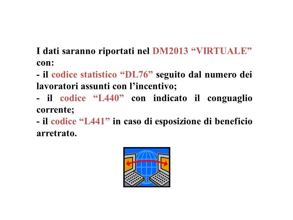 I dati saranno riportati nel DM2013 VIRTUALE con: - il codice statistico DL76 seguito dal numero dei lavoratori assunti con lincentivo; - il codice L4