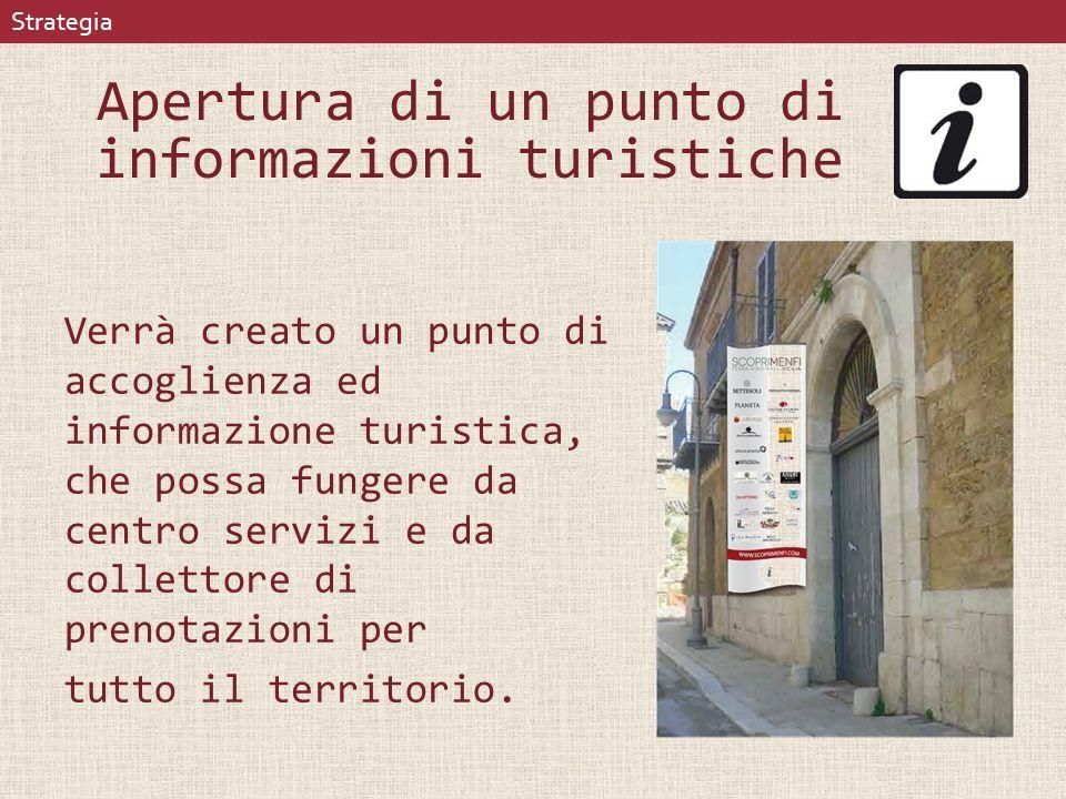 Apertura di un punto di informazioni turistiche Verrà creato un punto di accoglienza ed informazione turistica, che possa fungere da centro servizi e da collettore di prenotazioni per tutto il territorio.