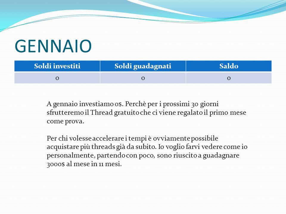 GENNAIO Soldi investitiSoldi guadagnatiSaldo 0 00 A gennaio investiamo 0$.
