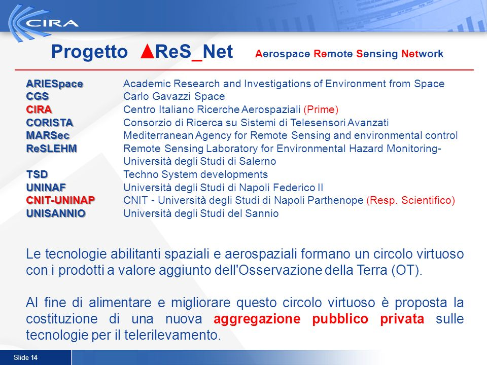 Slide 14 Progetto ReS_Net Aerospace Remote Sensing Network ARIESpace ARIESpaceAcademic Research and Investigations of Environment from Space CGS CGS C