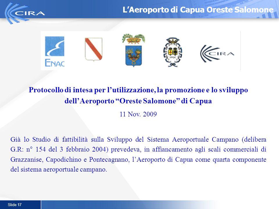 Slide 17 Protocollo di intesa per lutilizzazione, la promozione e lo sviluppo dellAeroporto Oreste Salomone di Capua 11 Nov. 2009 Già lo Studio di fat