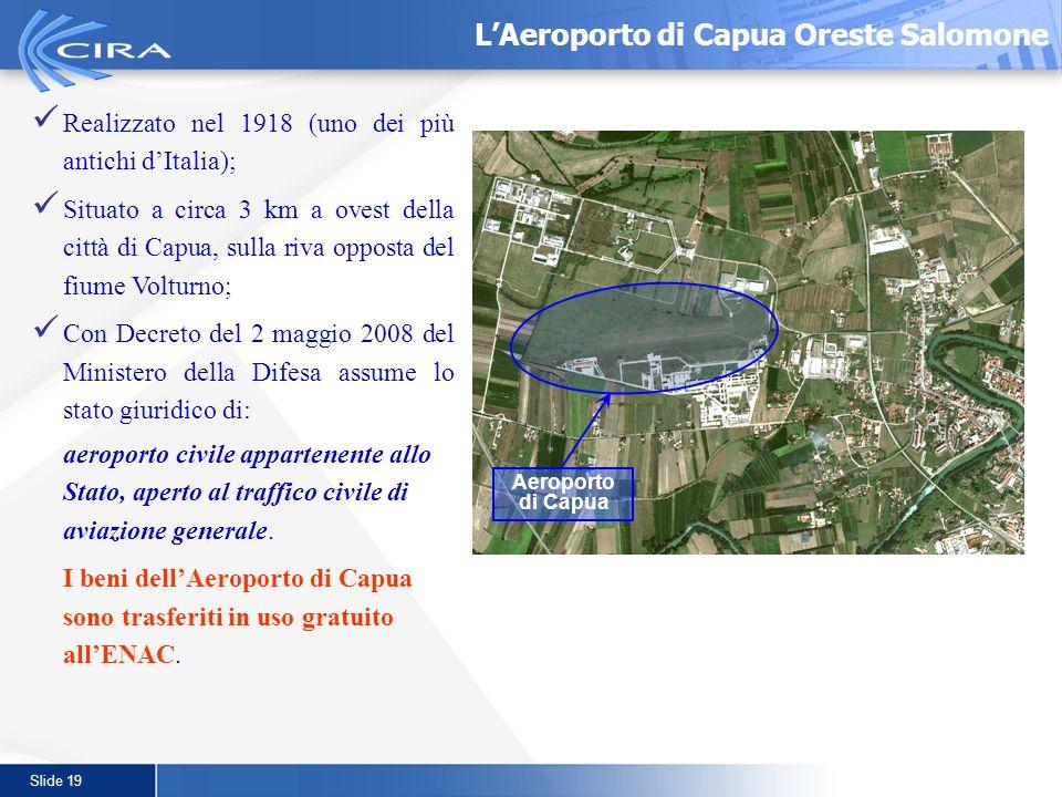 Slide 19 LAeroporto di Capua Oreste Salomone Realizzato nel 1918 (uno dei più antichi dItalia); Situato a circa 3 km a ovest della città di Capua, sul
