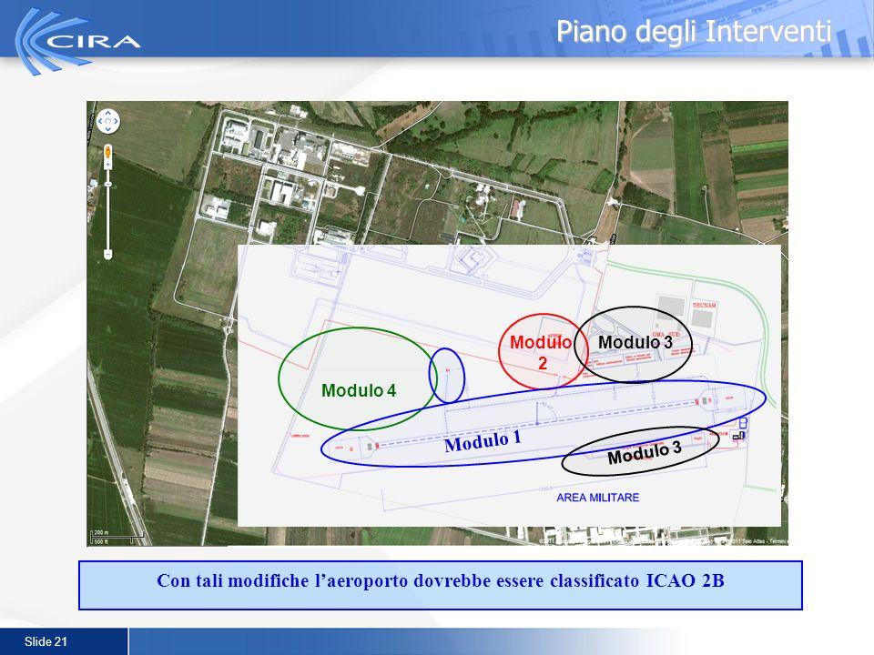 Slide 21 Piano degli Interventi Con tali modifiche laeroporto dovrebbe essere classificato ICAO 2B Modulo 4 Modulo 3Modulo 2 Modulo 3 Modulo 1