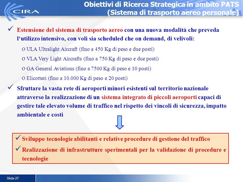 Slide 27 Obiettivi di Ricerca Strategica in ambito PATS (Sistema di trasporto aereo personale) Estensione del sistema di trasporto aereo con una nuova