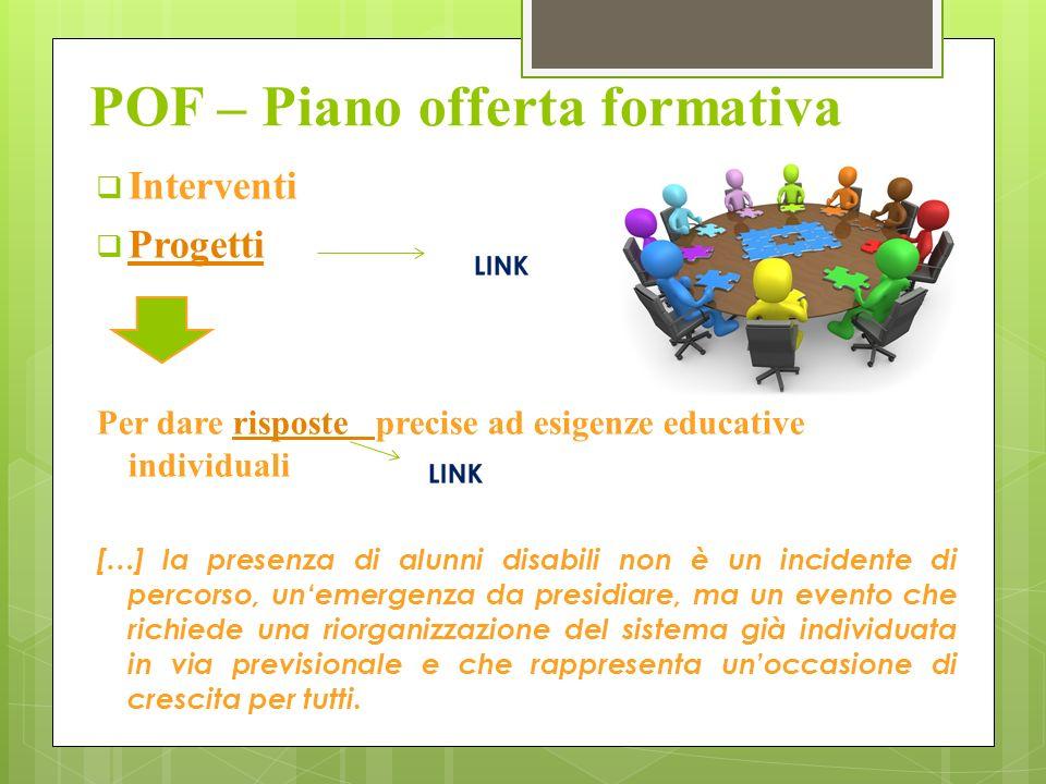 POF – Piano offerta formativa Interventi Progetti Per dare risposte precise ad esigenze educative individualirisposte […] la presenza di alunni disabi